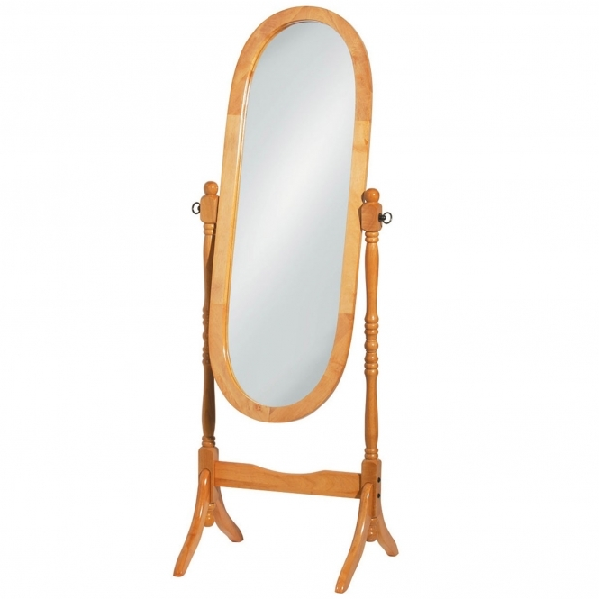 Light Brown Oval Cheval Mirror