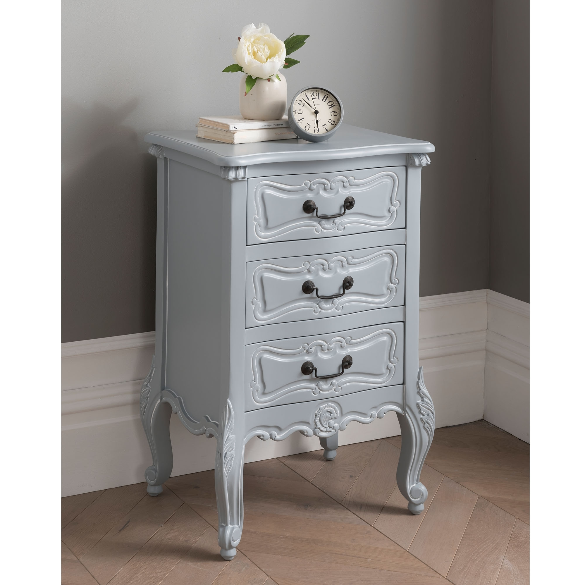 Light Grey Antique French Style Bedside Table French Grey Bedside