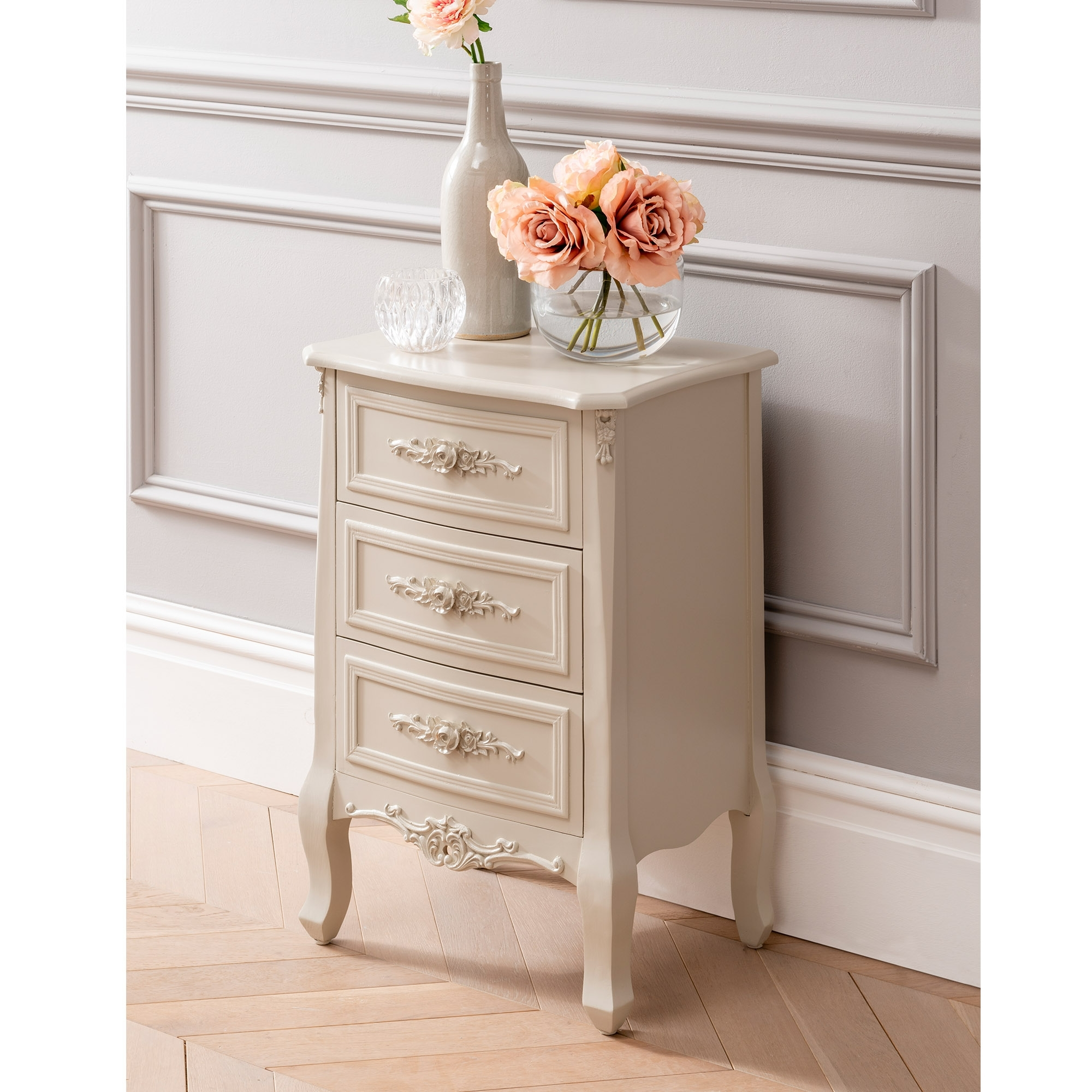 Antique French Style Bedside Table With Floral Handles Bedroom