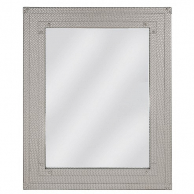 Light Taupe Faux Leather Weave Wall Mirror