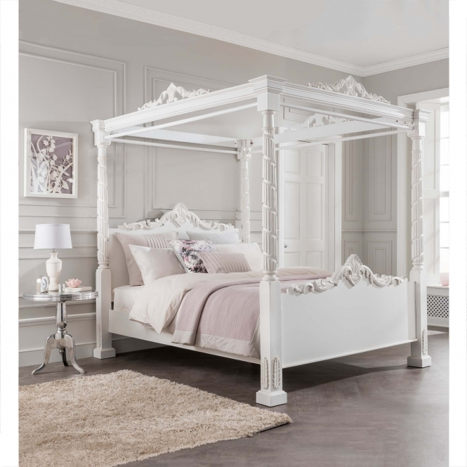 Lincoln four poster antique french style bed homesdirect365 - Shabby chic bedroom sets for sale ...