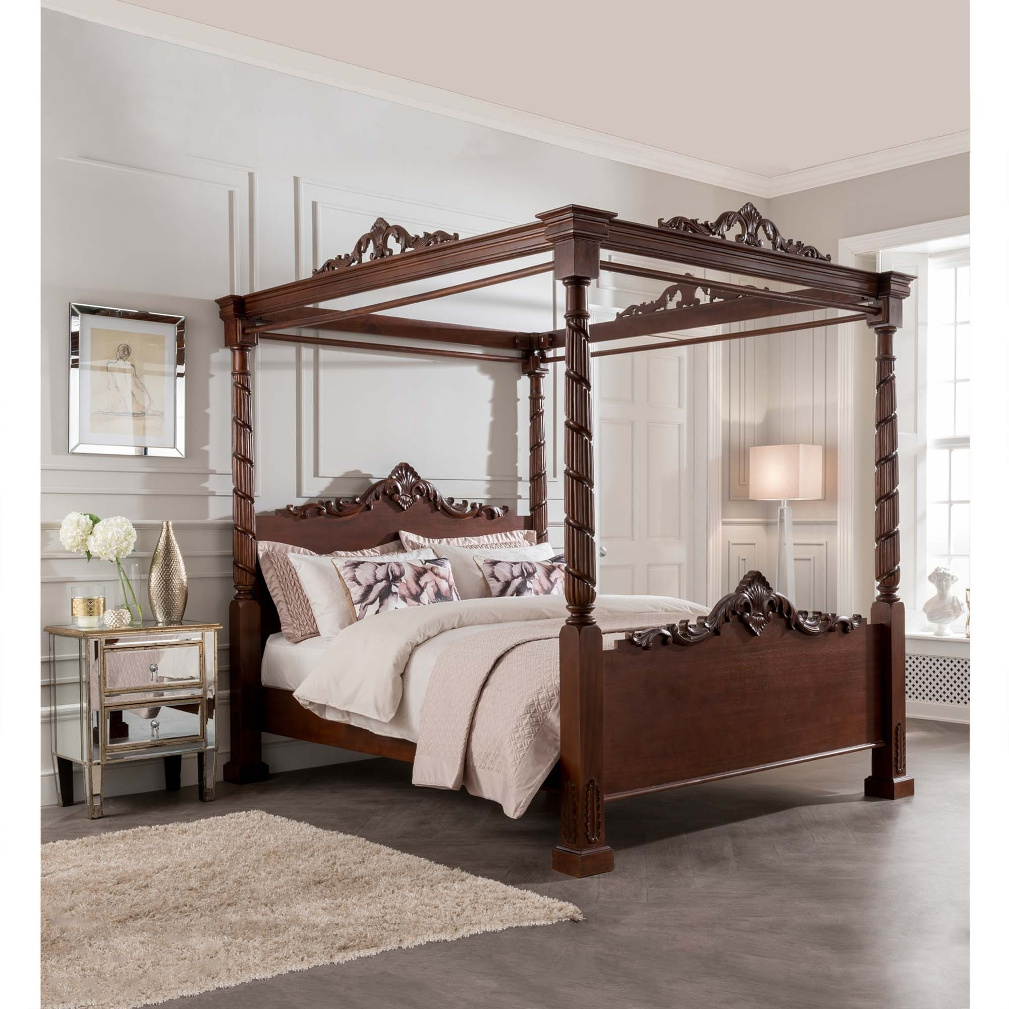 Four Poster Bed Uk Part - 35: Lincoln Four Poster Antique French Style Bed