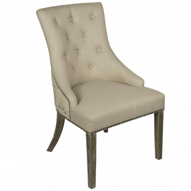 Linen Chair With Map Printed Back
