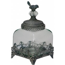 Little Bird Filligree Low Glass Jar