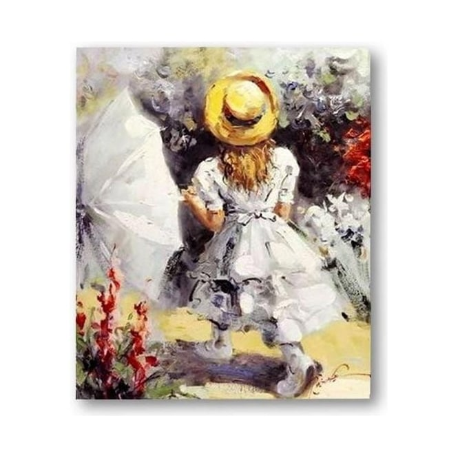Little Girl With Umbrella Handpainted Canvas