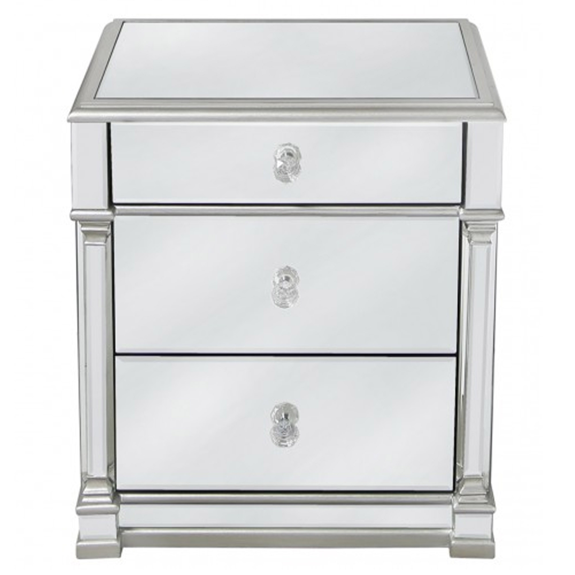 e7d6fde2ccee Livorno Silver Mirrored 3 Drawer Bedside Table | Modern Bedroom