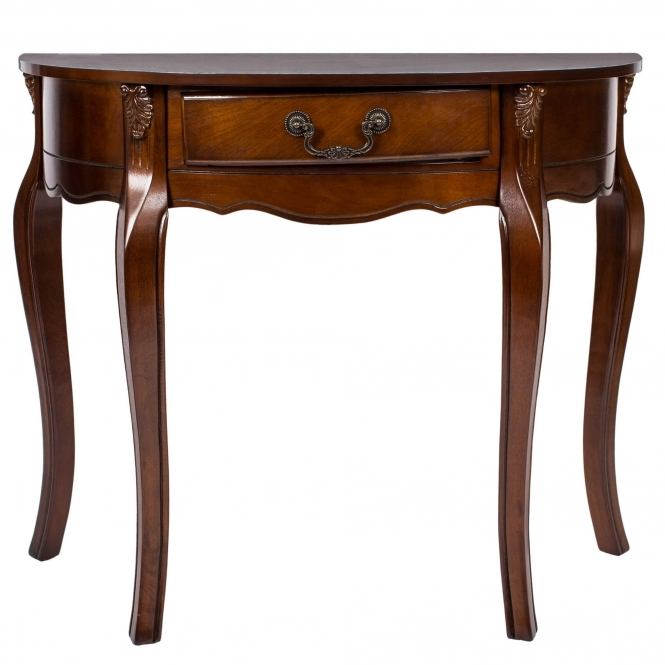 Loire Antique French Style Half Moon Console Table