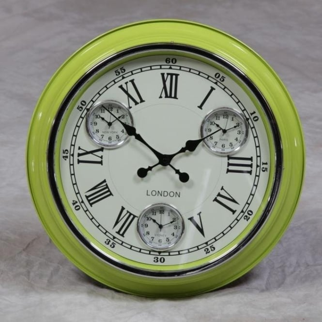 """London"" Retro Lime Green Clock"