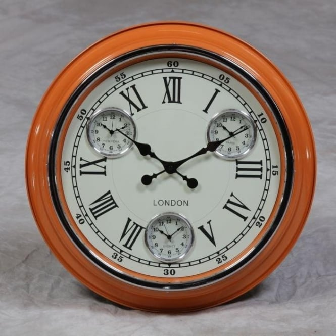 """London"" Retro Orange Clock"