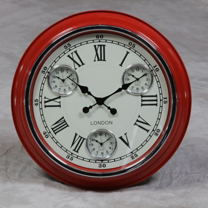 Quot London Quot Retro Red Clock Homesdirect365 French Furniture