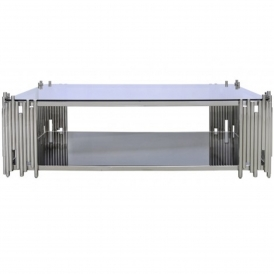 Lorent Polished Steel Coffee Table