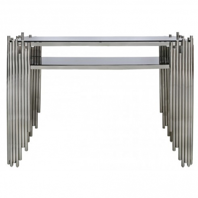 Lorent Polished Steel Console Table