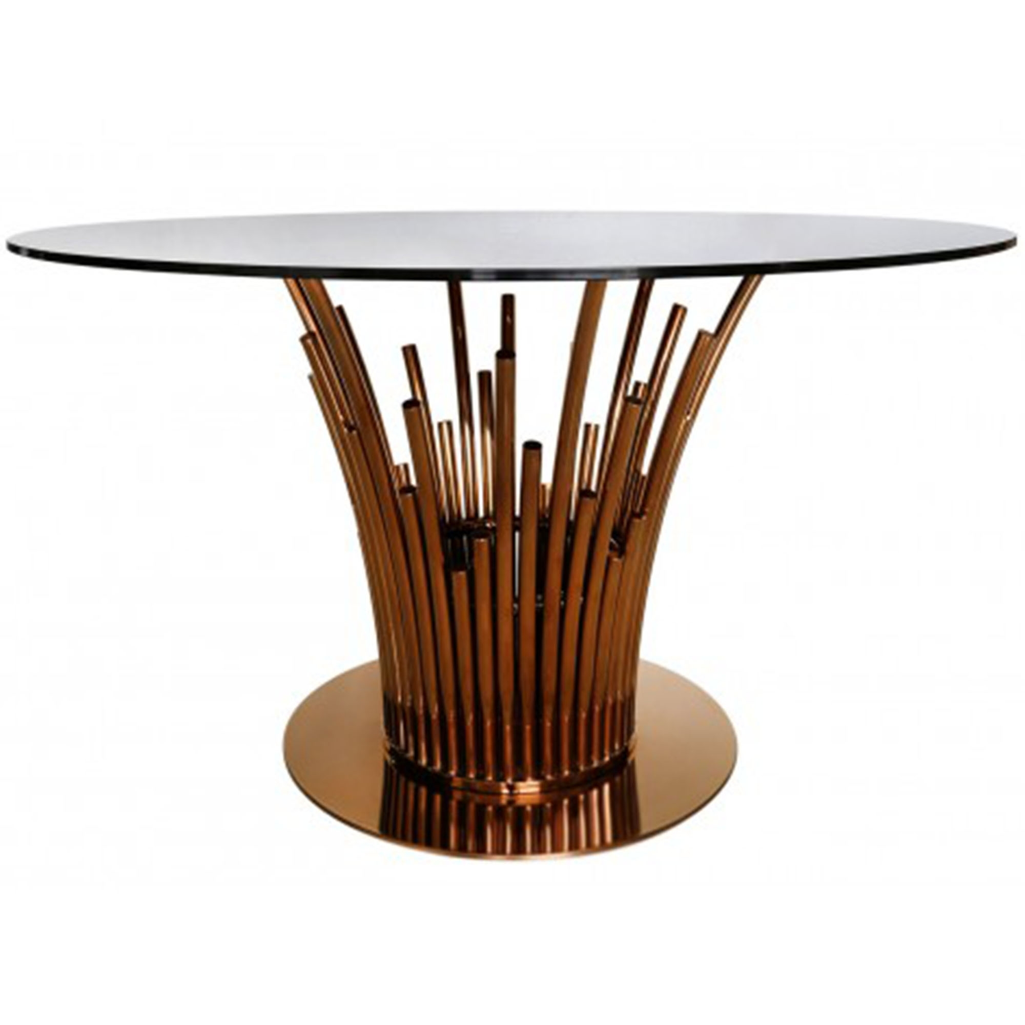 Lorent Rose Gold Dining Table Glass Furniture