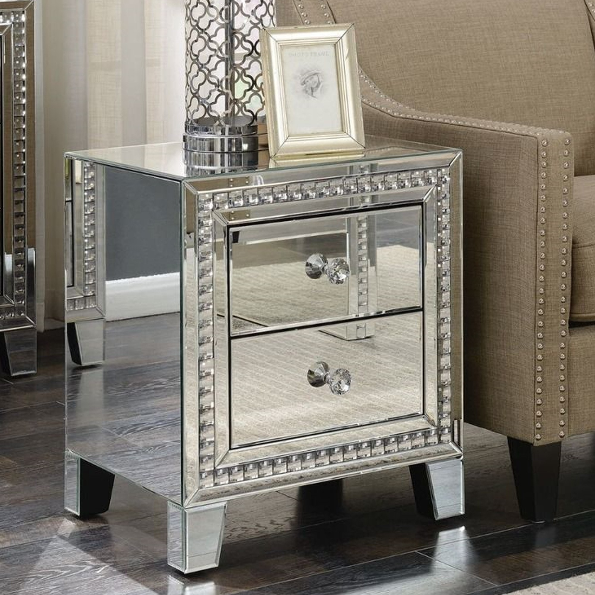 Picture of: Loughton Mirror 2 Drawer Bedside Table Mirror Bedside