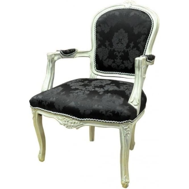 Silver Frame Antique French Chair