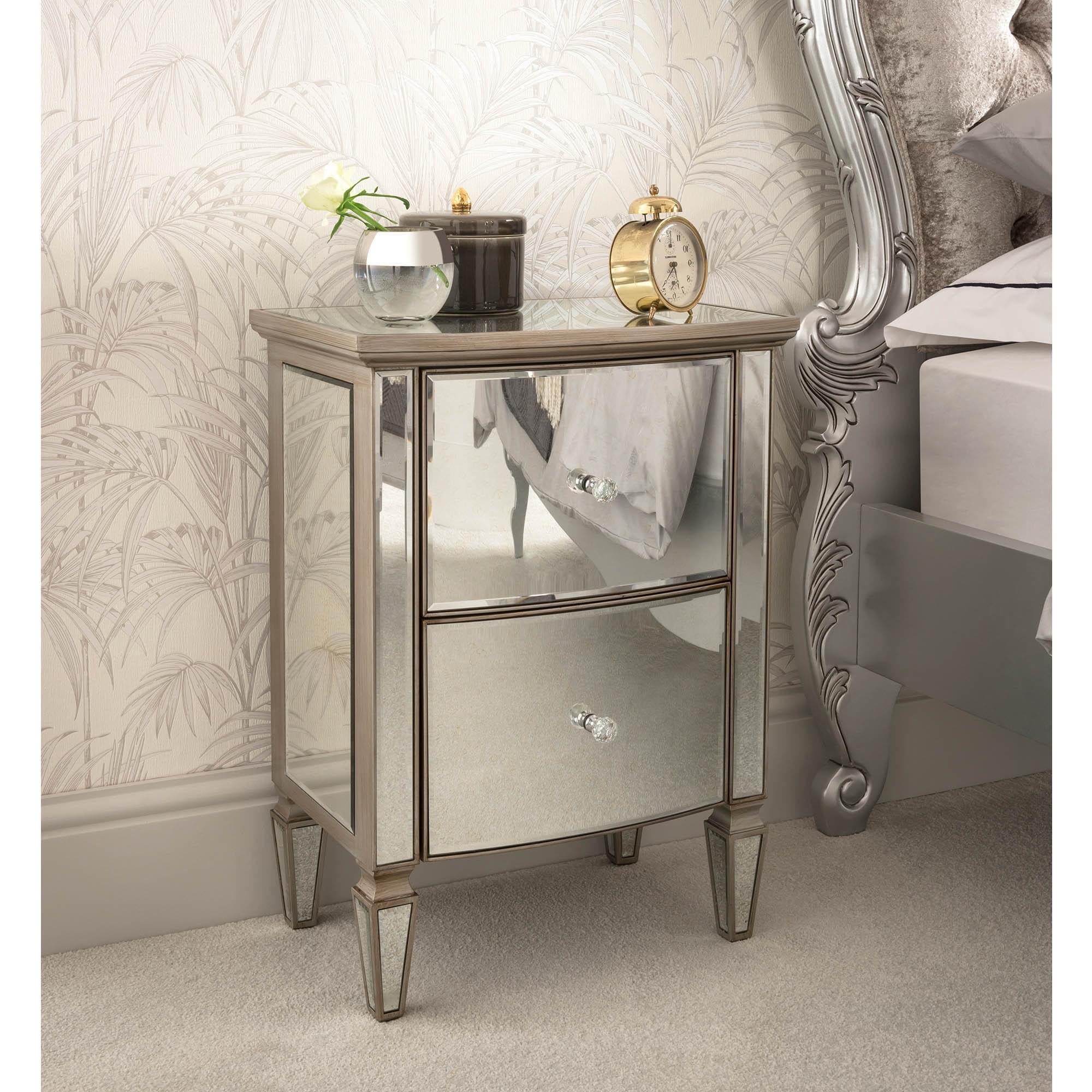 lourve mirrored bedside table  venetian mirrored furniture
