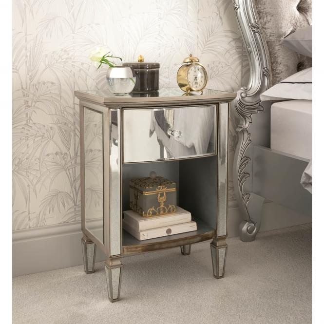 Louvre Mirrored Bedside Table