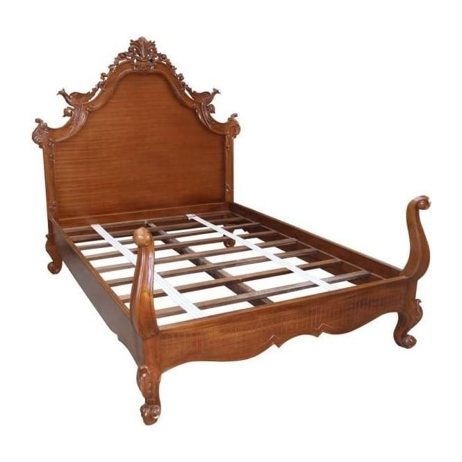 Mahogany Peacock Antique French Style Bed