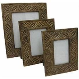 Mango Wood Gothic Design Set Of 3 Photograph Frames