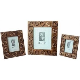 Mango Wood Heart Design Set Of 3 Photo Frames