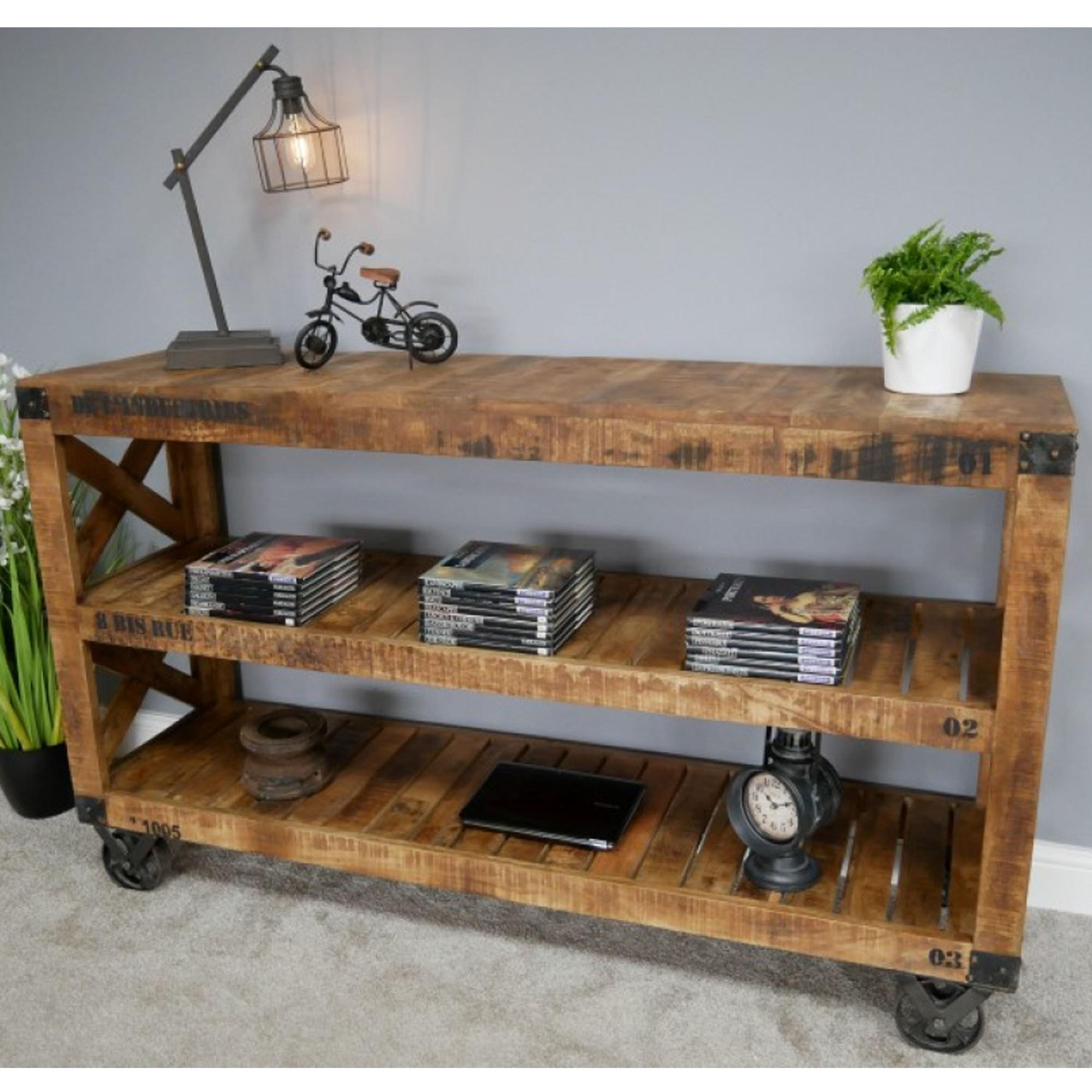 Mango Wood Industrial Shelves on Wheels