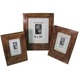 Mango Wood Love Design Set Of 3 Photo Frames