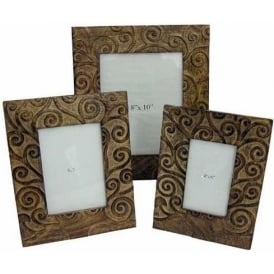 Mango Wood Octopus Tree Design Set Of 3 Photograph Frames