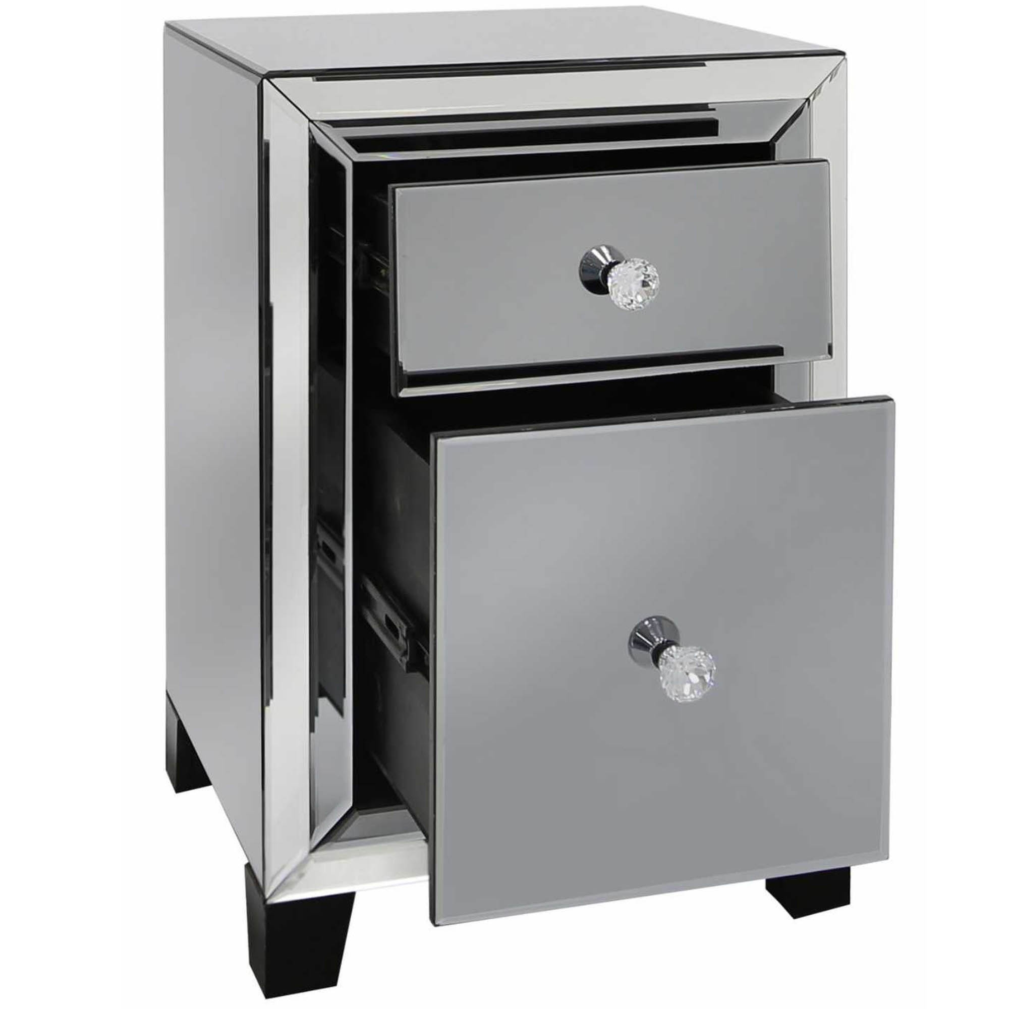 Mantua Smoked Mirrored 2 Drawer Bedside Table Hd365