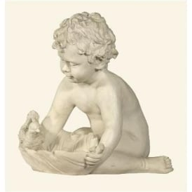 Marble Cherub with Bird