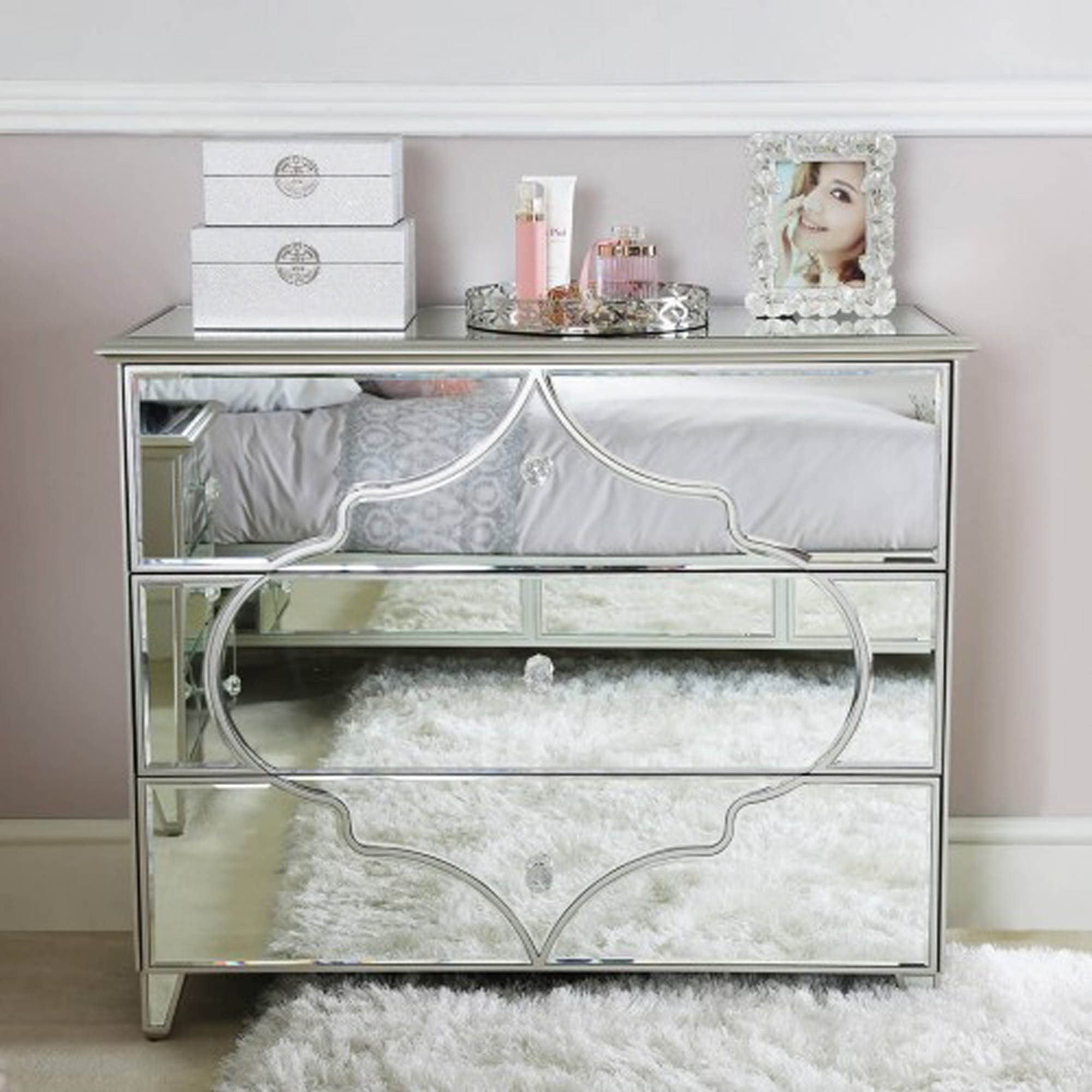 Marrakesh Silver Mirror 3 Drawer Chest Mirrored Chest Of Drawers