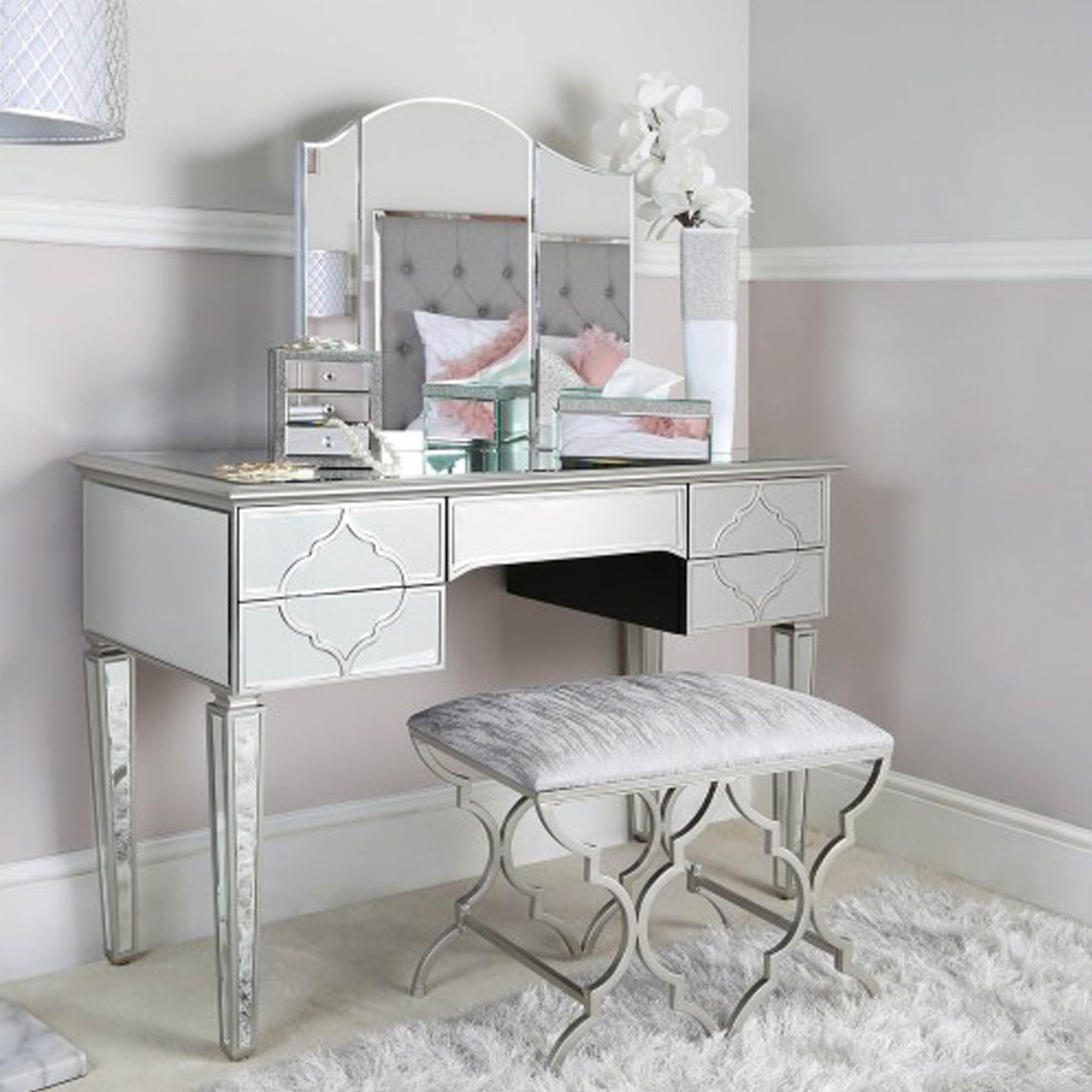 Marrakesh Silver Mirror Bedroom Stool Modern Contemporary Stools