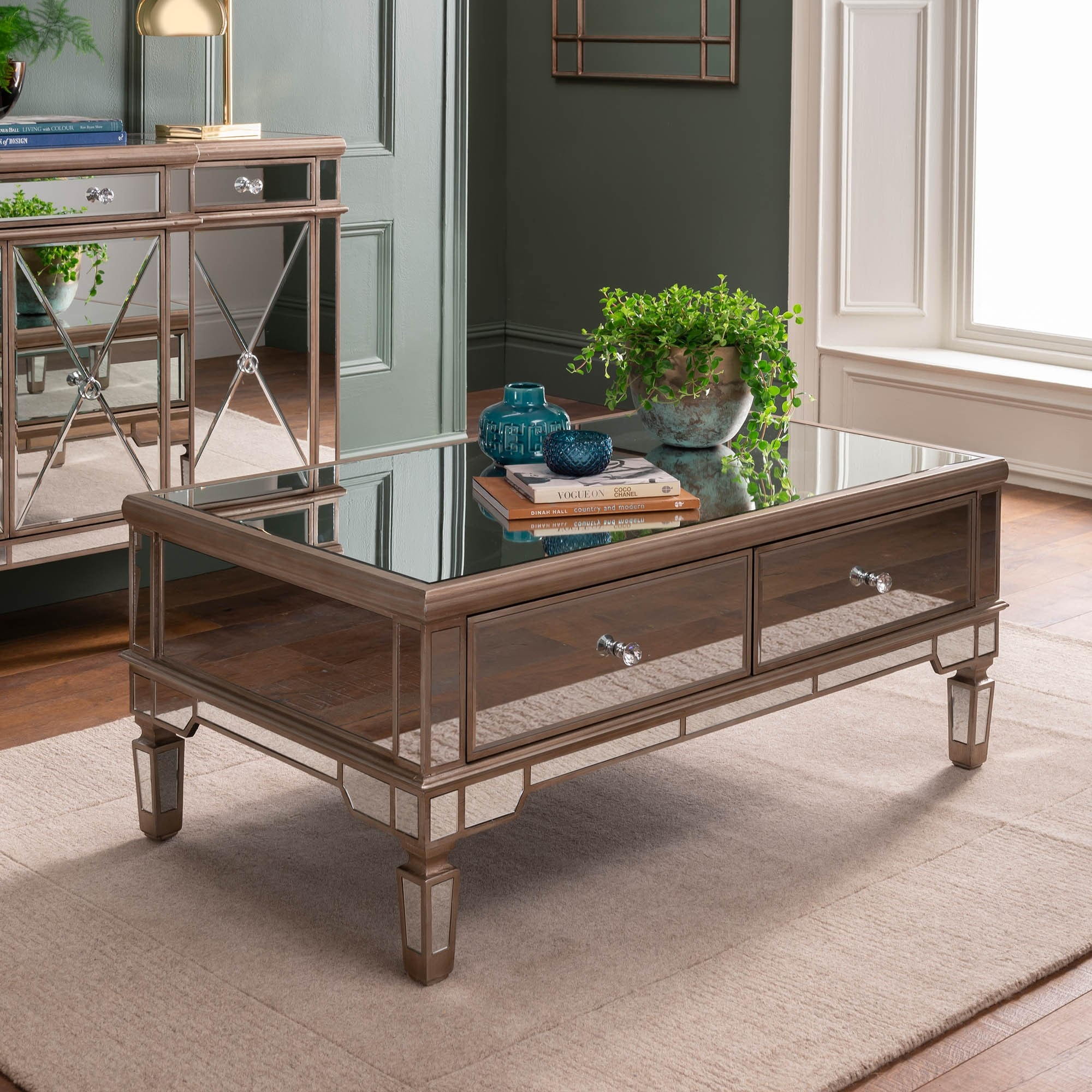 Marvelous Marseille 2 Drawer Mirrored Coffee Table Dailytribune Chair Design For Home Dailytribuneorg