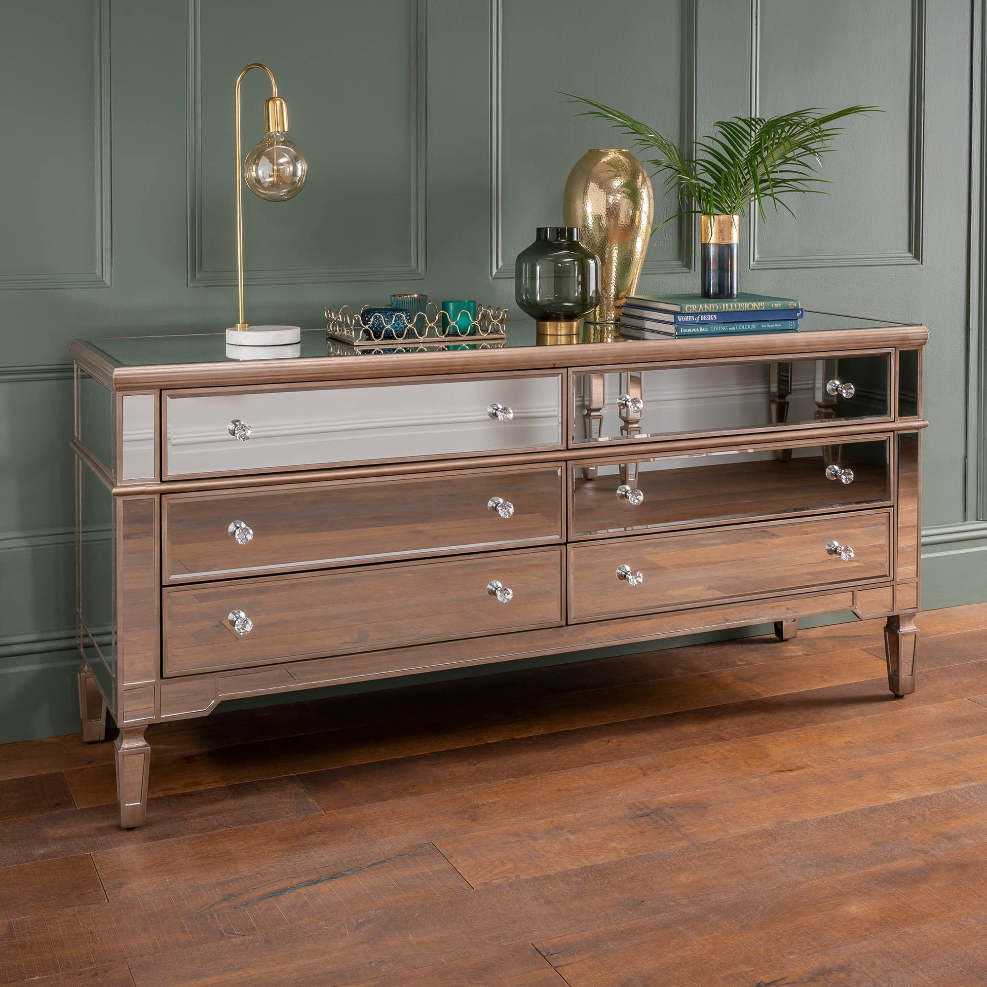 innovative design 55439 f381a Marseille Six Drawer Wide Mirrored Chest