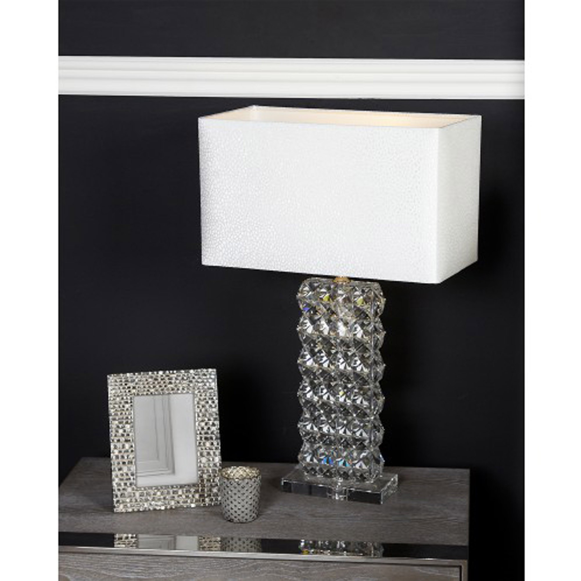 Picture of: Crystal Cut Glass Rectangle Lamp With White Shade Table Lamps