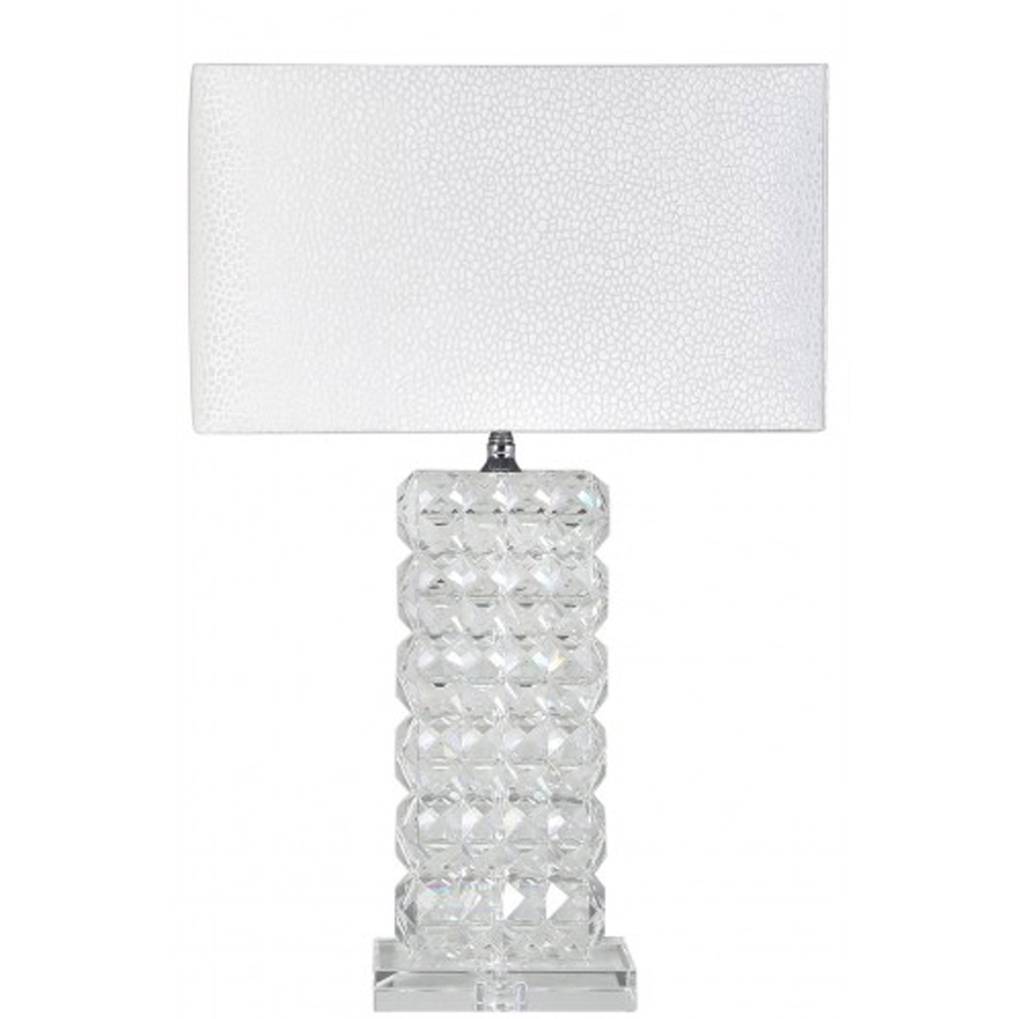 Crystal Cut Glass Rectangle Lamp With White Shade Table Lamps