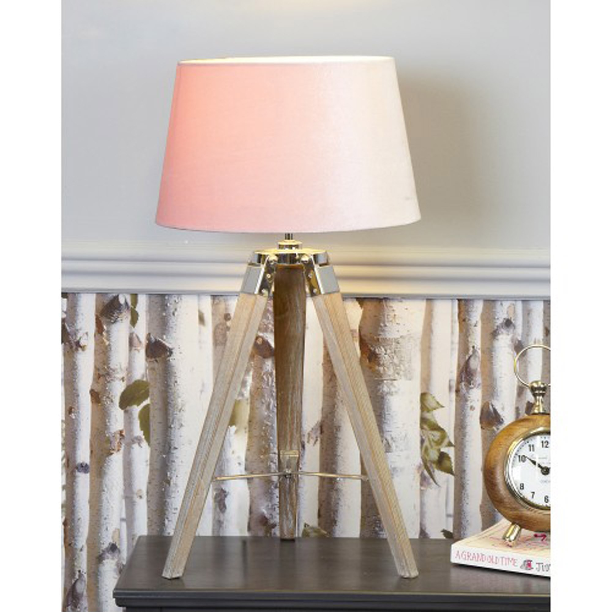 Picture of: Medium Wood Tripod Table Lamp With Blush Pink Shade Table Lamps