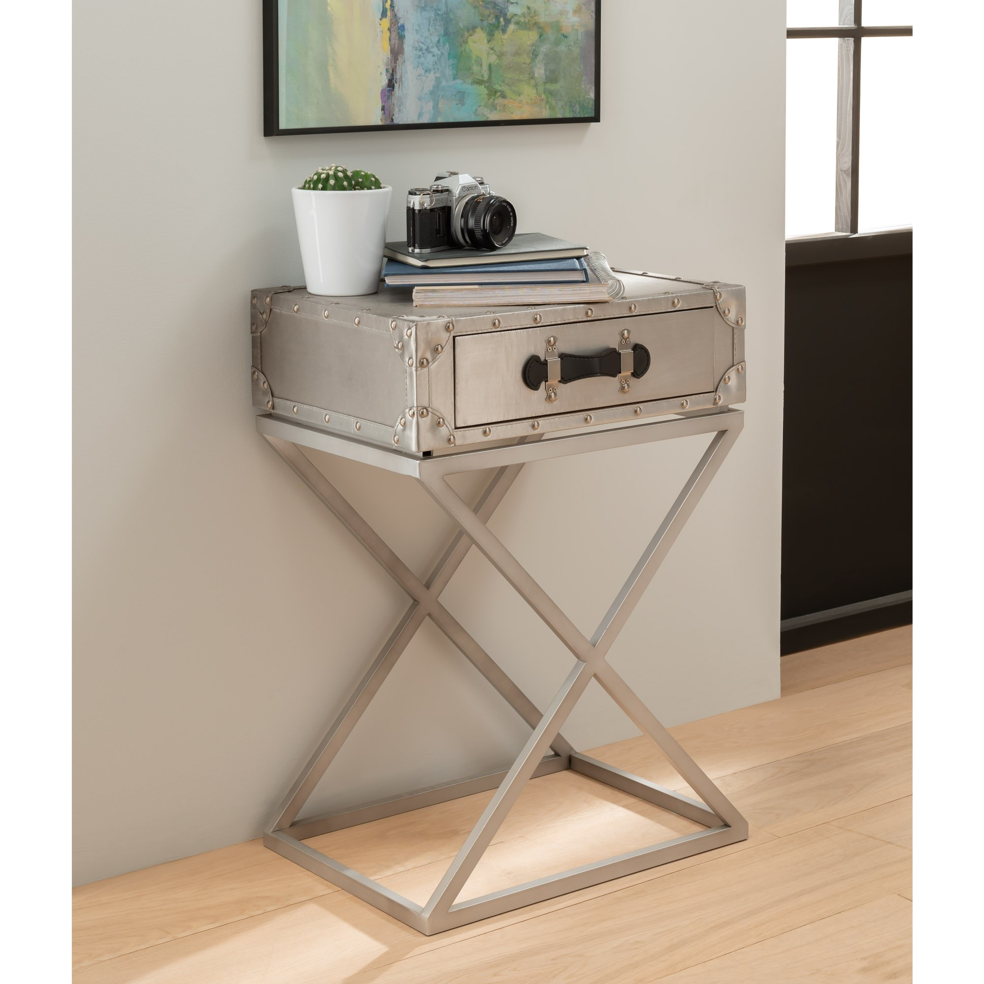 Picture of: Metal Cross Legged Bedside Table Modern Bedside Table