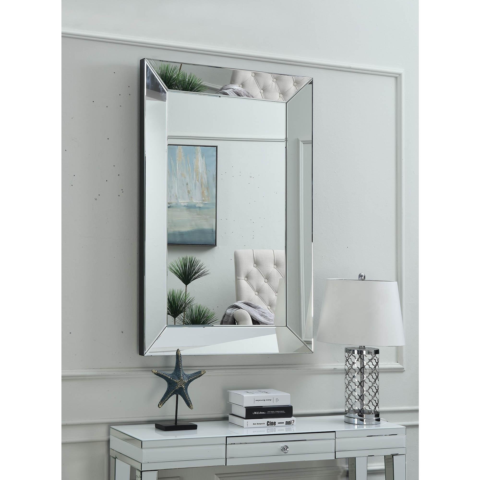 Miami Mirrored Rectangular Wall Mirror Wall Mirror Homesdirect365