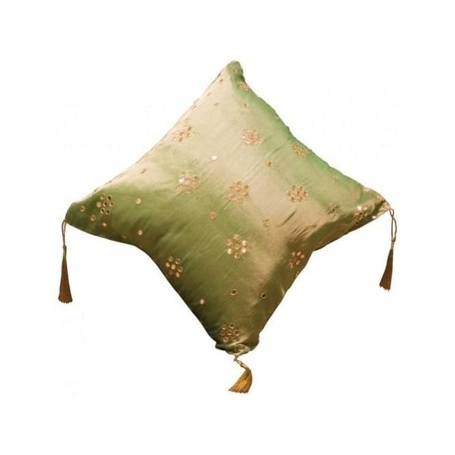 Mint Green Cushion with Small Mirrors