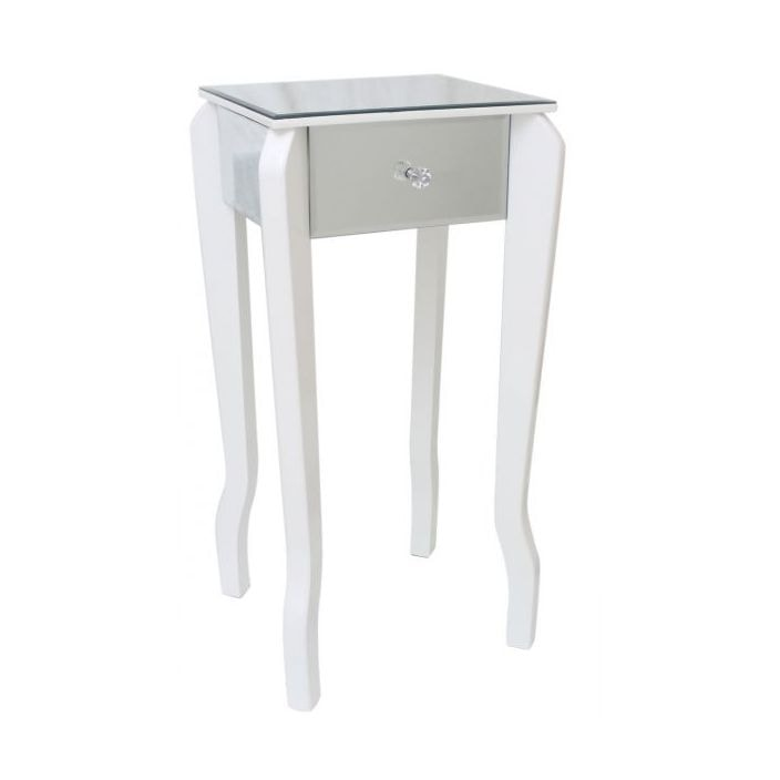 Mirror lamp table with white trim glass furniture from homesdirect mirror lamp table with white trim aloadofball Choice Image