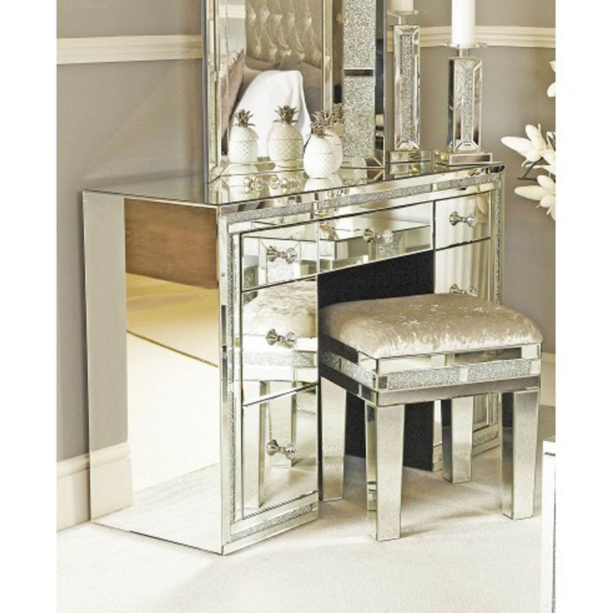 Mirror 7 Drawer Dressing Table Mirrored Furniture Dressing Tables