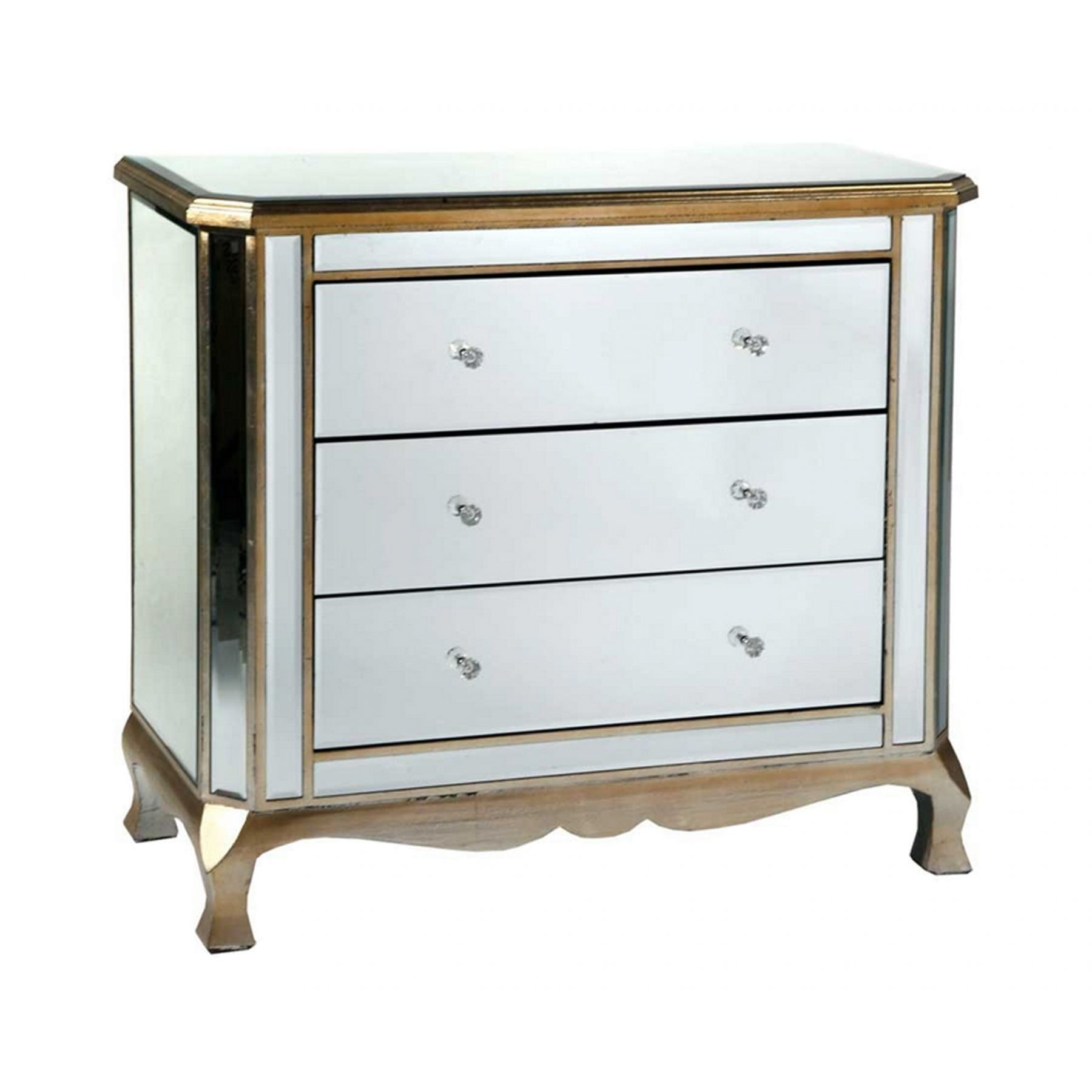 Mirrored Chest Of Drawers Gold Trim Venetian Furniture