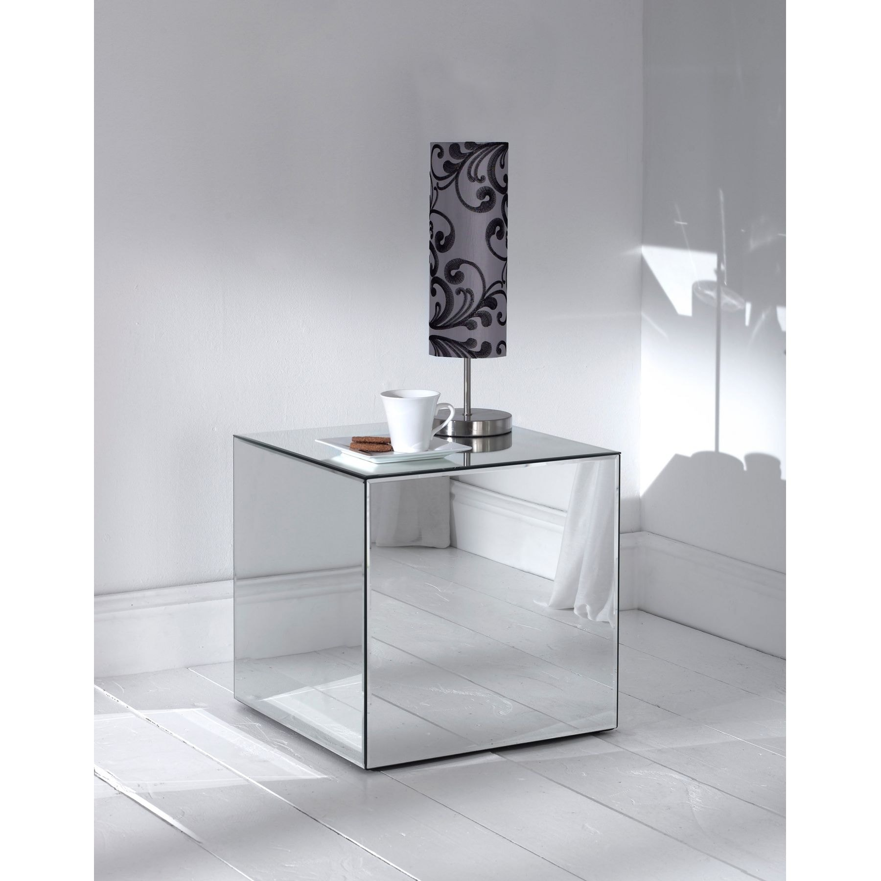 mirror table. mirrored cube mirror table l