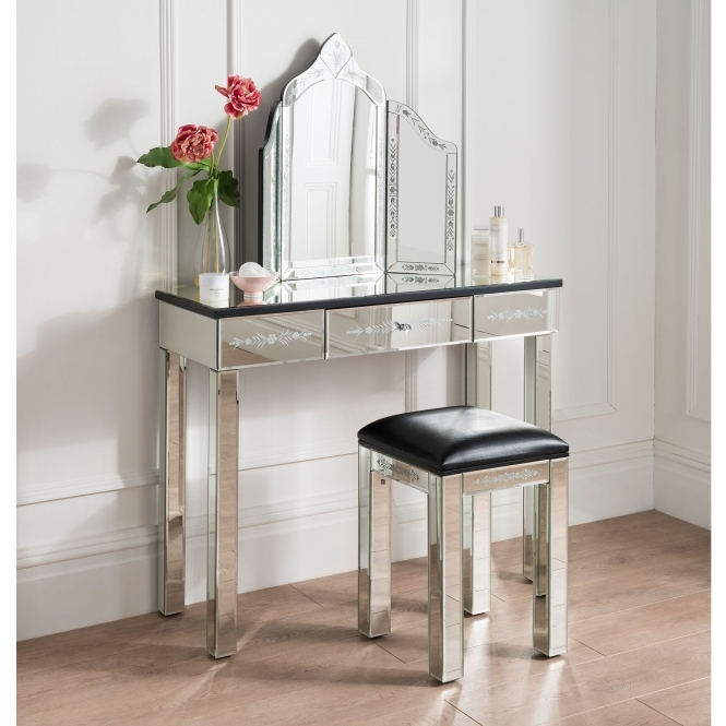 Mirrored Etched Dressing Table Set