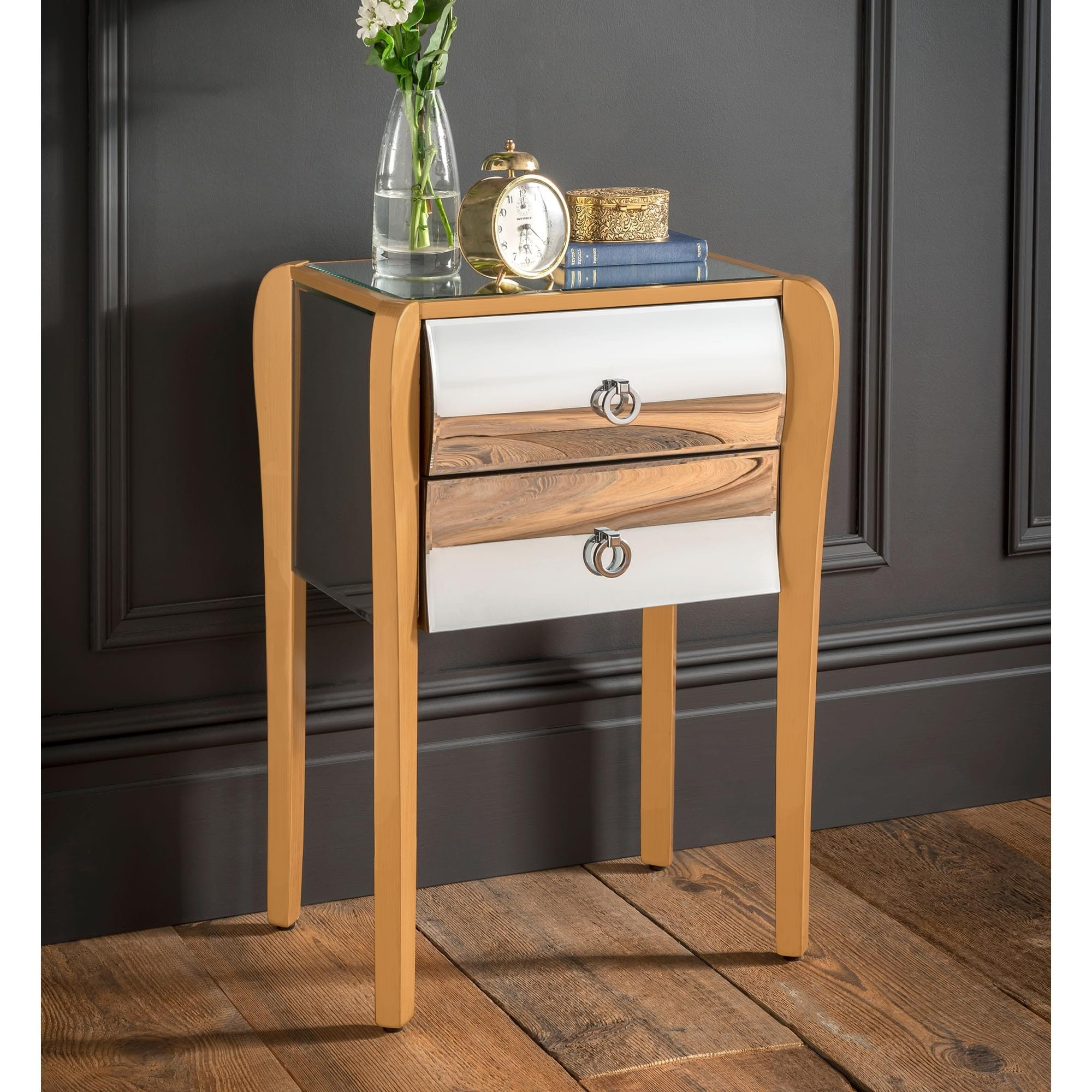 Mirrored Gold Frame Bedside Table