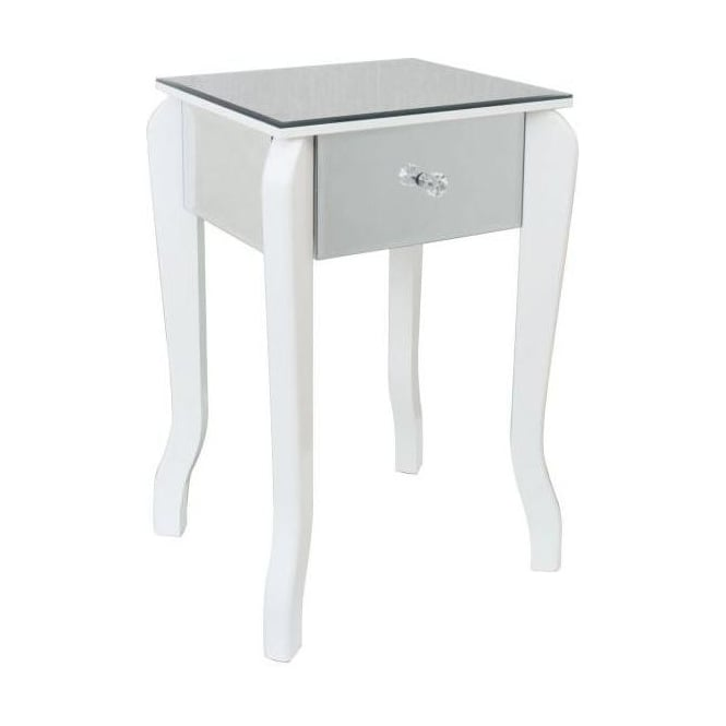 Mirrored Lamp Table with White Trim
