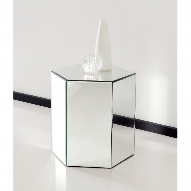 Mirrored Octahedron Shape Pedestal