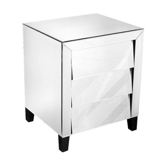 Mirrored Three Drawer Bedside Unit