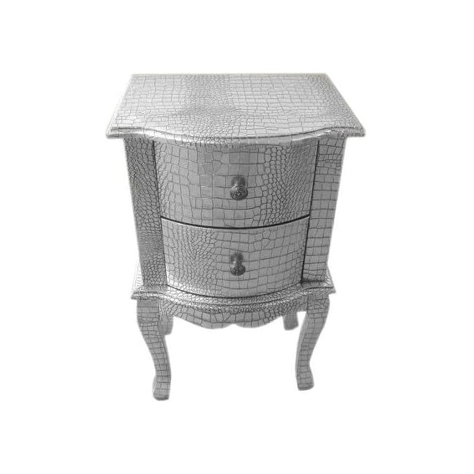 Moc Croc Silver Antique French Style Bedside Cabinet