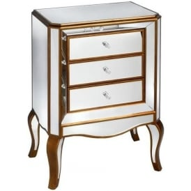Modena Mirrored 3 Drawer Cabinet
